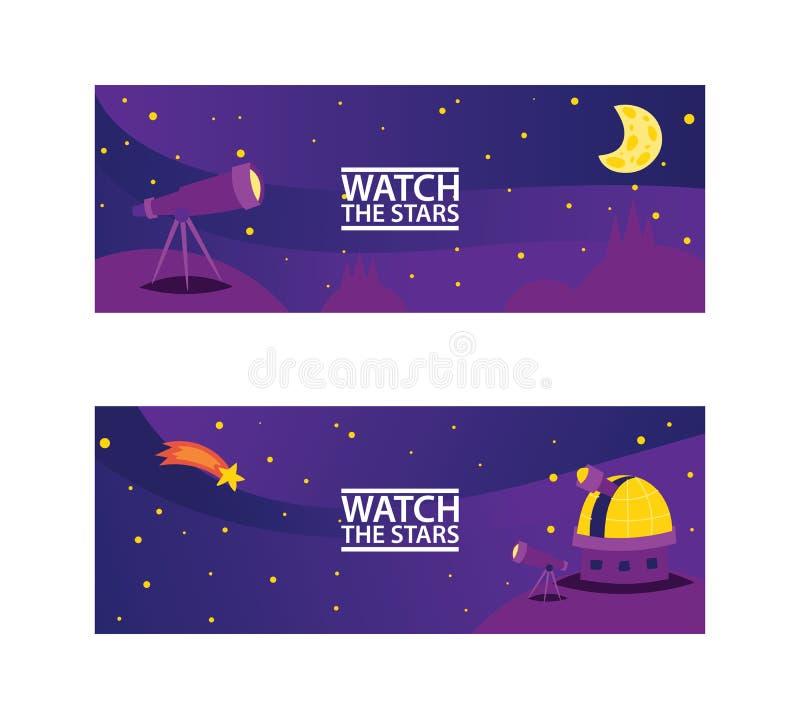 Håll ögonen på stjärnabanren Resa som ska göras mellanslag med den stjärna-, komet- och planetvektorillustrationen för kosmiskt p vektor illustrationer