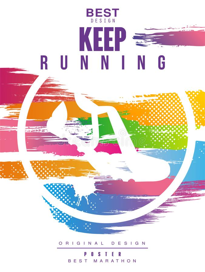 Håll bästa gesign för den rinnande affischen, den färgrika affischmallen för sporthändelsen, maraton, mästerskap, kan användas fö stock illustrationer