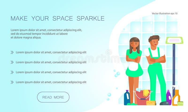 Håll din hem- rena rengöringsdukdesign royaltyfri illustrationer
