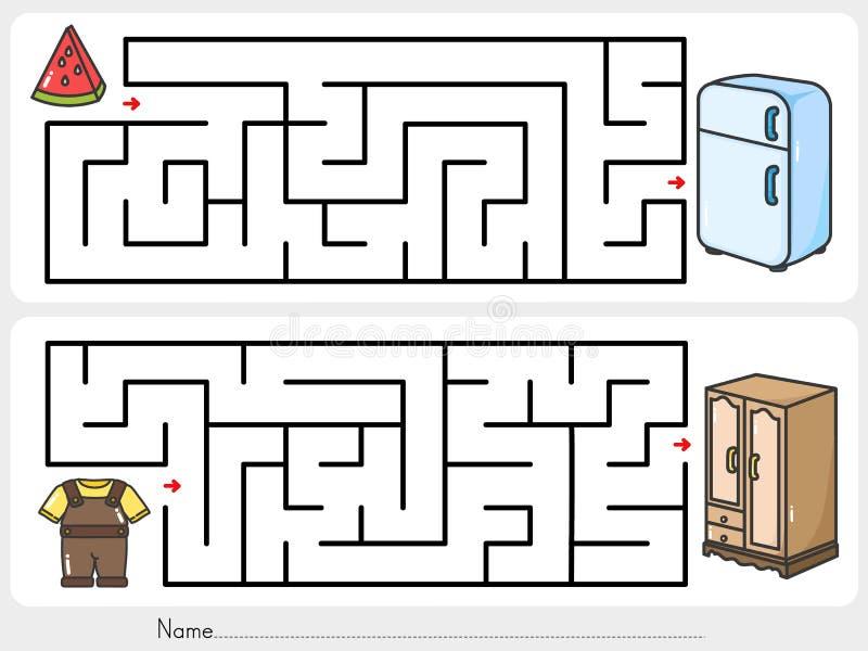 Håll din tillhörigheter Finna vägen till garderoben och kylen - Arbetssedel för utbildning royaltyfri illustrationer