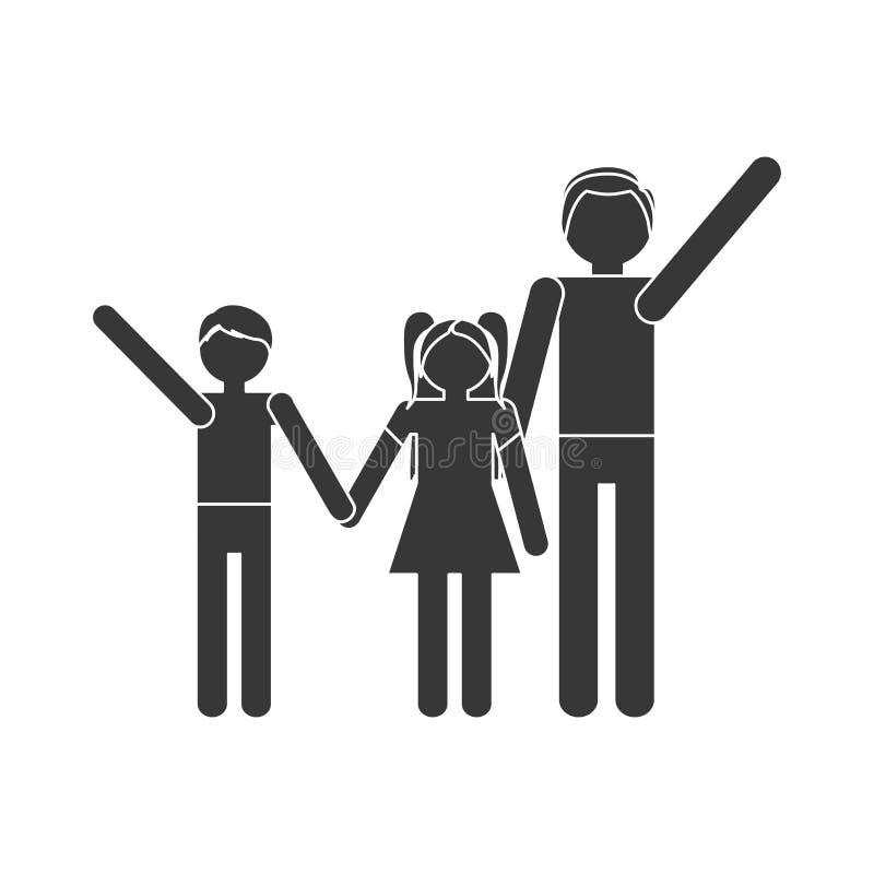 håll för händer för dotter för son för konturfamiljförälder royaltyfri illustrationer