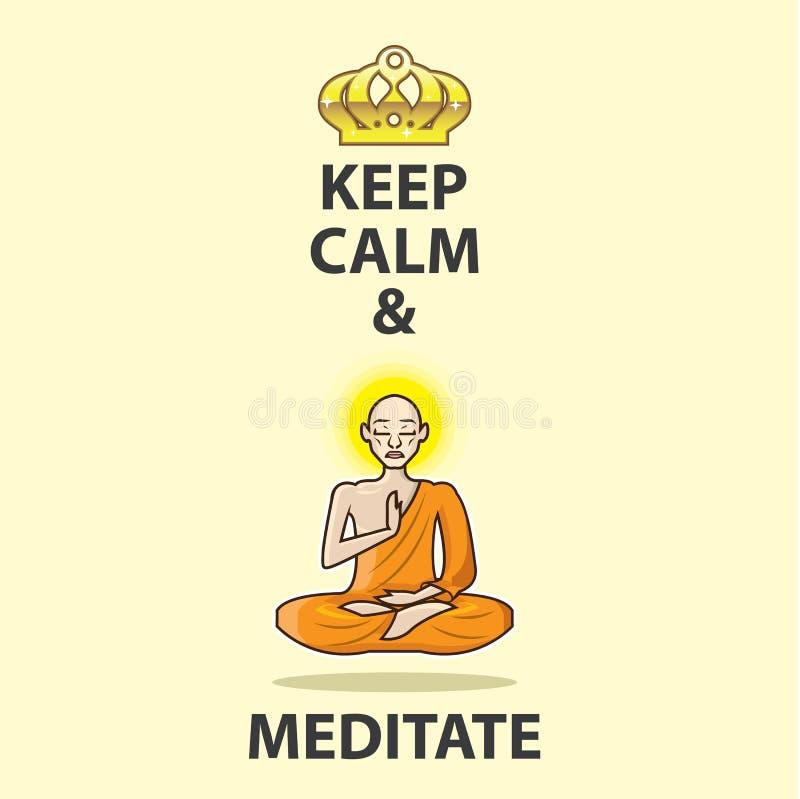 Håll lugna och meditera vektorn Art Gold Crown stock illustrationer