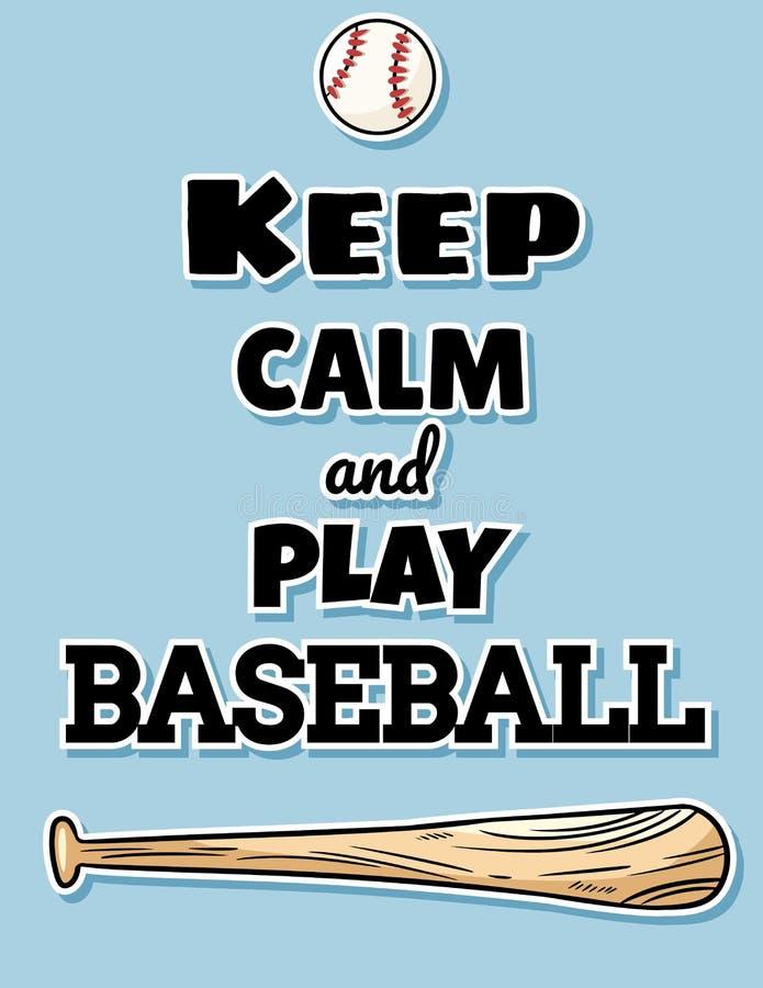 Håll slagträet för baseball för vykortet för stillhet- och lekbaseball det gulliga och bollen, sportlogo Sommarreklamblad- eller  stock illustrationer