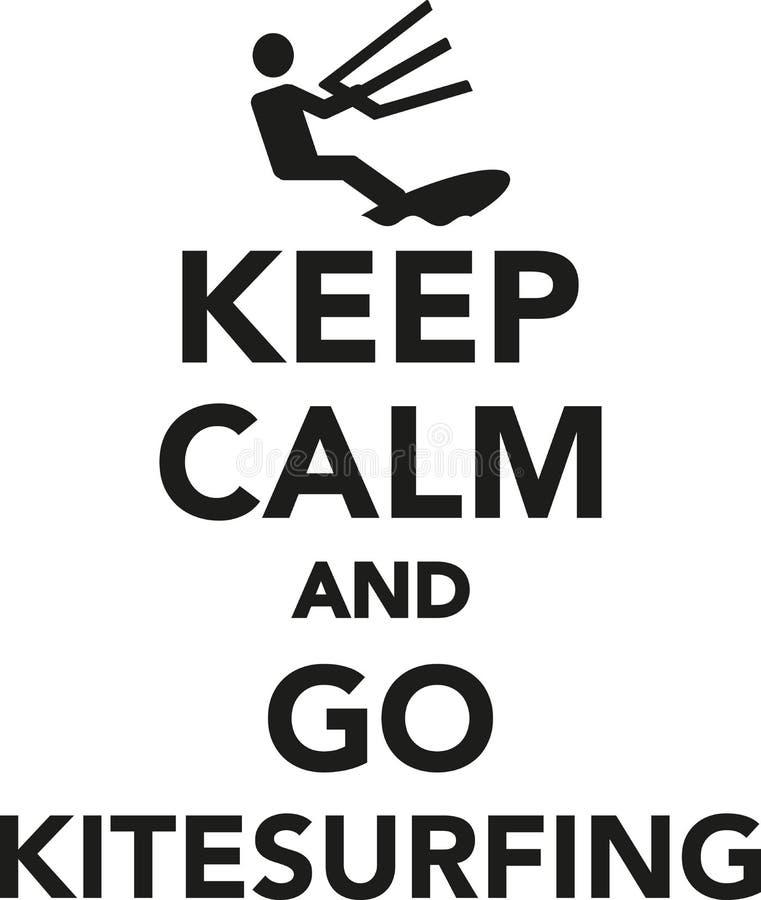 Håll stillhet och gå kitesurfing royaltyfri illustrationer