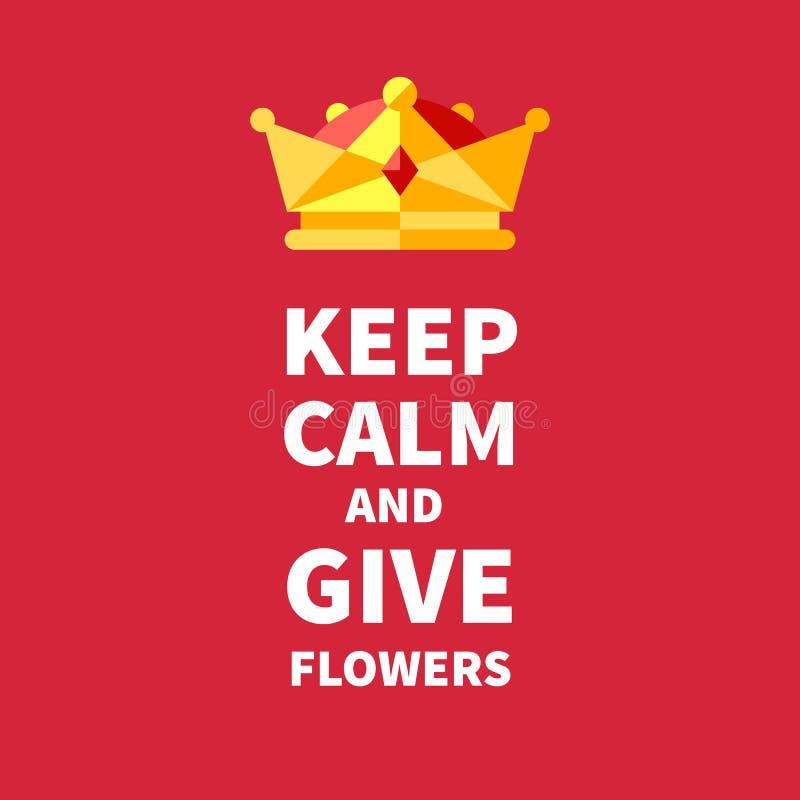 Håll stillhet och ge blommor stock illustrationer