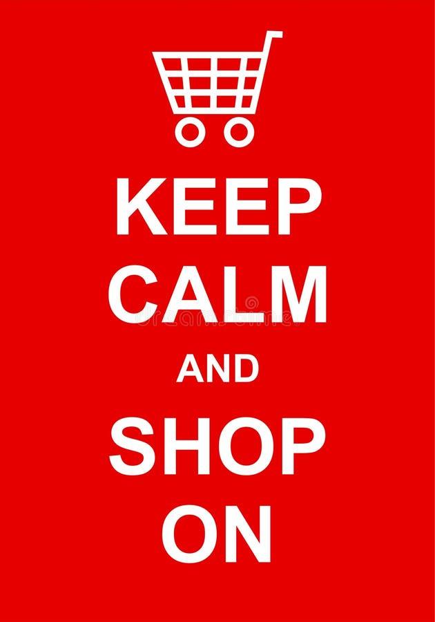 Håll stillhet och shoppa på royaltyfri illustrationer