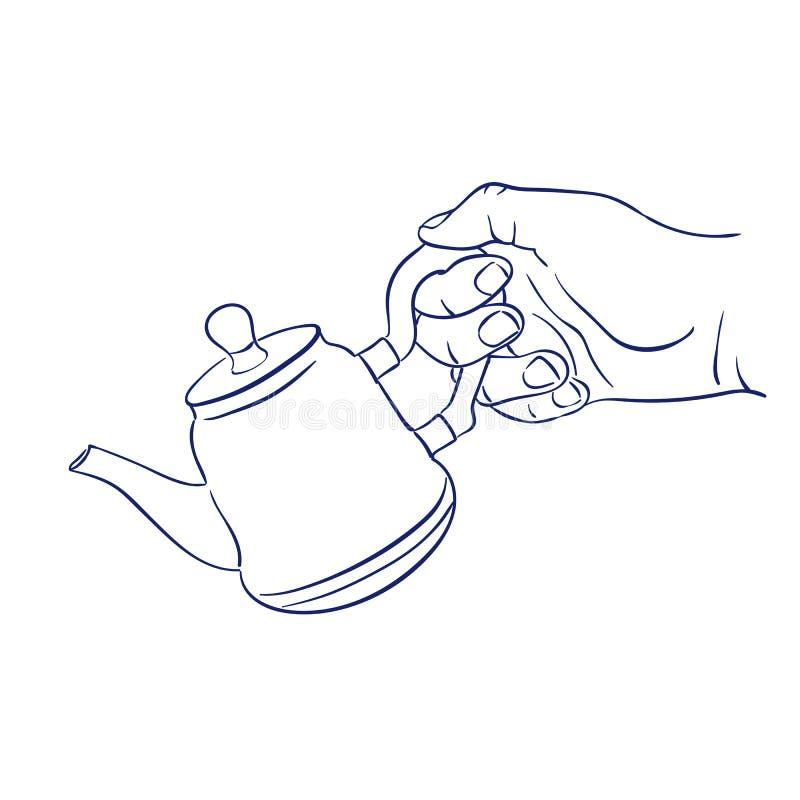 Håll tekannan i hand royaltyfri illustrationer