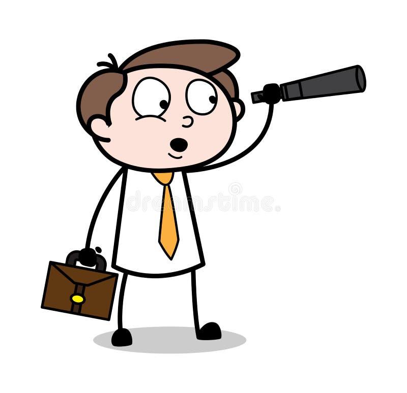 Hålla ögonen på med teleskopet - kontorsaffärsmanEmployee Cartoon Vector illustration arkivfoto