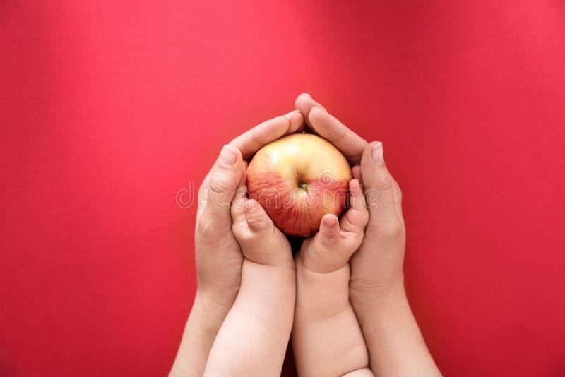 Hållande äpple för ung kvinna och för litet barn royaltyfri foto