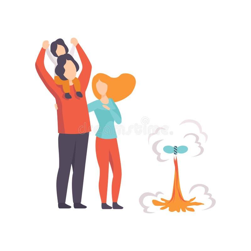 Hållande ögonen på explosion för lycklig familj av fyrverkeriraket, folk som firar ferie med fyrverkerivektorillustrationen på a royaltyfri illustrationer
