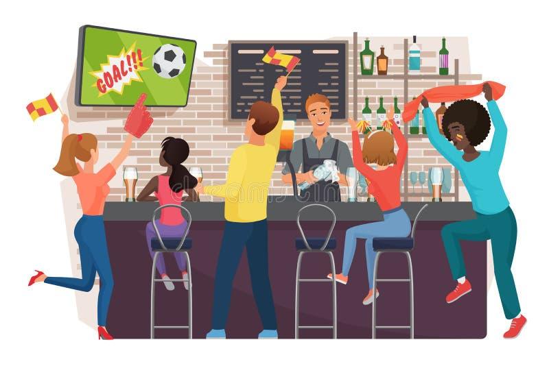 Hållande ögonen på fotboll för folk och fira i plan vektorillustration för stång Vänner som håller ögonen på fotbollsmatchen, bar royaltyfri illustrationer