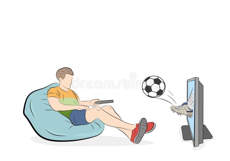 Hållande ögonen på fotboll för man en fotbollboll kraschar ut deras tvskärm också vektor för coreldrawillustration royaltyfri illustrationer