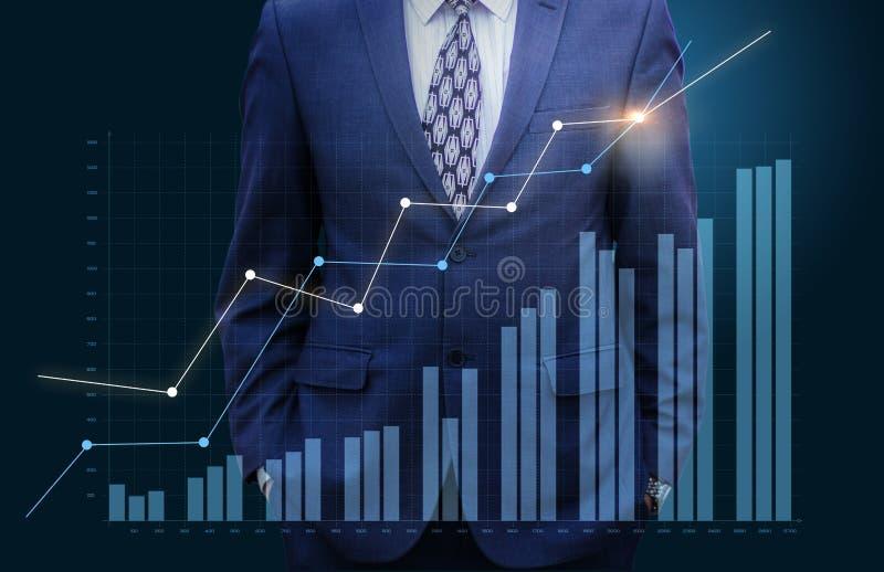 Hållande ögonen på graftillväxt för affärsman vektor illustrationer