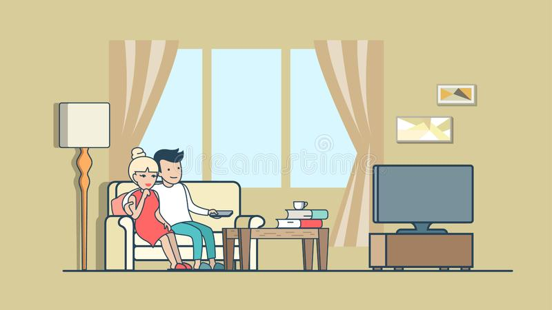 Hållande ögonen på nyheterna för linjärt plant folk på TV direkt vektor illustrationer