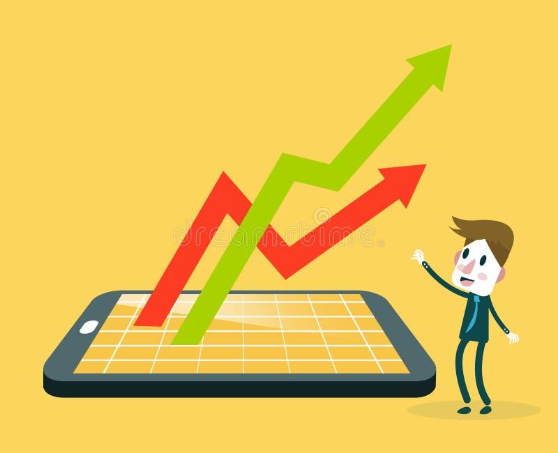 Hållande ögonen på smartphone för affärsman med aktiemarknadapplikation royaltyfri illustrationer
