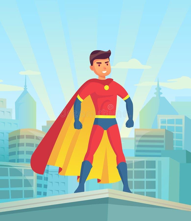 Hållande ögonen på stad för tecknad filmsuperhero Komisk kraftig man, hjälte i toppen dräkt med kappan på illustration för stadci royaltyfri illustrationer