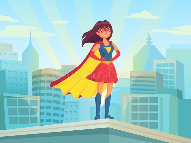 Hållande ögonen på stad för toppen kvinna Mirakel- hjälteflicka i dräkt med kappan på stadtaket Komisk kvinnlig superhero på city royaltyfri illustrationer