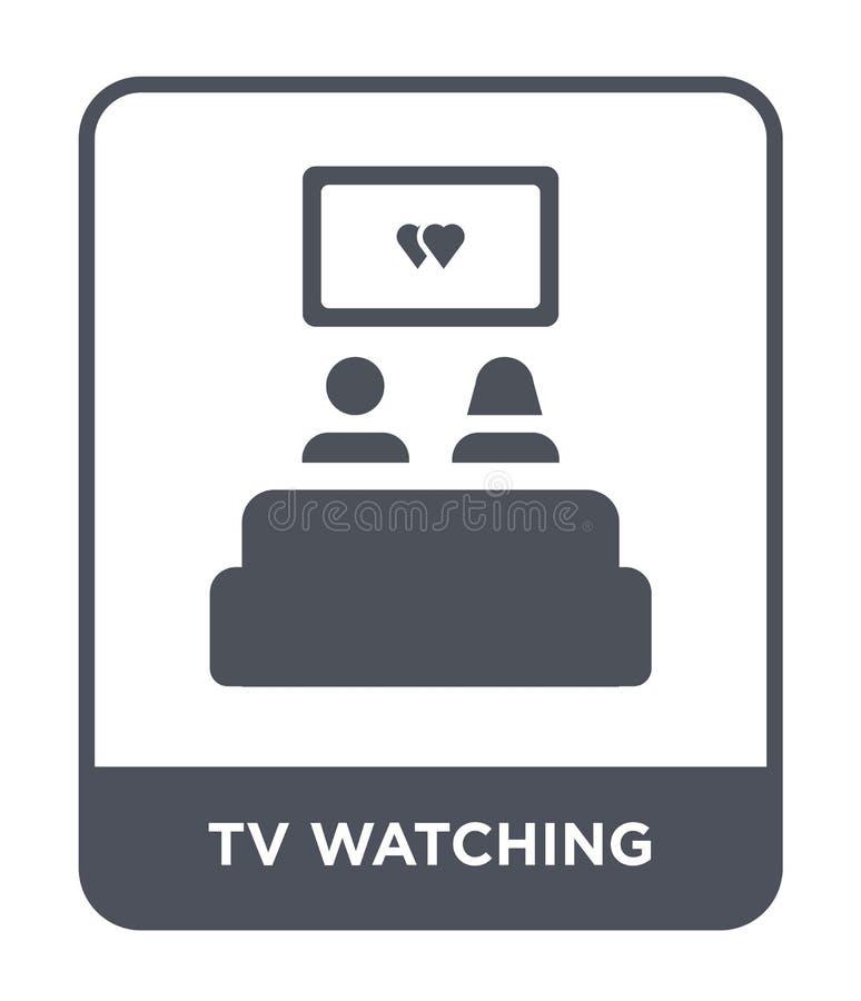 hållande ögonen på symbol för tv i moderiktig designstil hållande ögonen på symbol för tv som isoleras på vit bakgrund hållande ö royaltyfri illustrationer