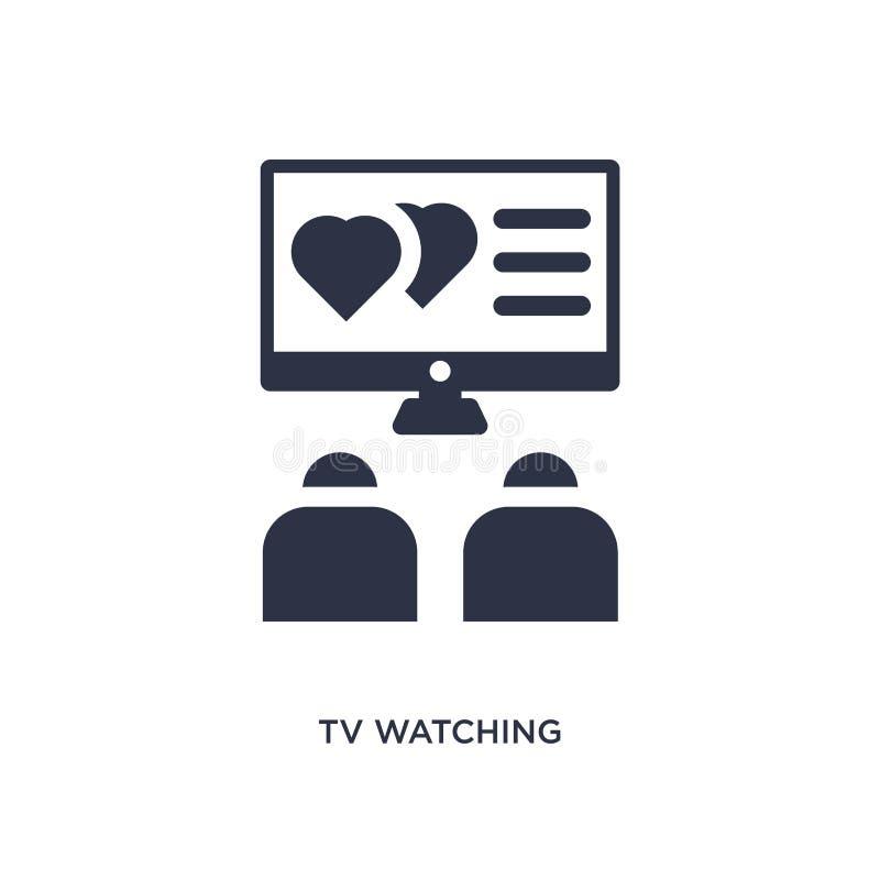 hållande ögonen på symbol för tv på vit bakgrund Enkel beståndsdelillustration från förälskelse- & bröllopbegrepp royaltyfri illustrationer