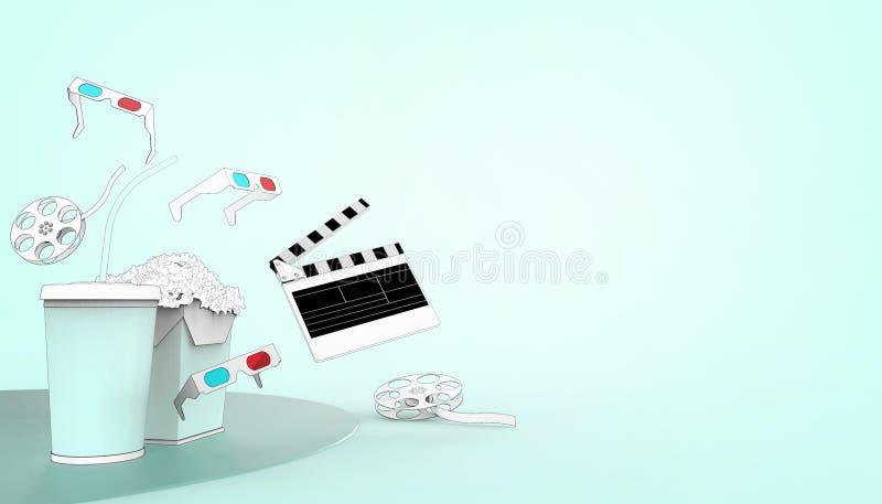 Hållande ögonen på teckning för online-biokonstfilmbiograf med popcorn, exponeringsglas 3d och filmbransch på pastellfärgad stock illustrationer