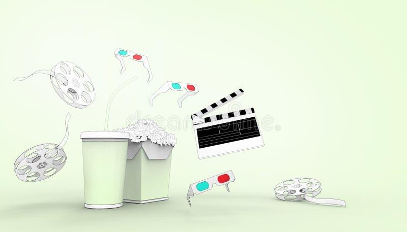 Hållande ögonen på teckning för online-biokonstfilmbiograf med popcorn, exponeringsglas 3d och filmbransch på pastellfärgad royaltyfri illustrationer