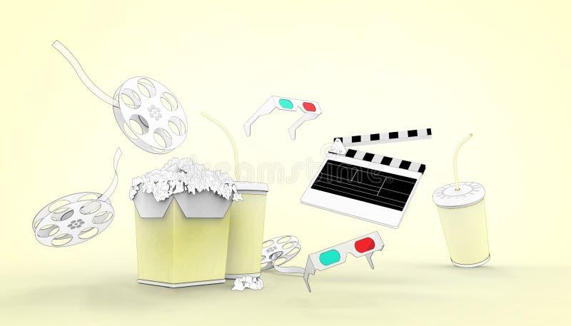Hållande ögonen på teckning för online-biokonstfilmbiograf med popcorn, exponeringsglas 3d och filmbransch på pastellfärgad vektor illustrationer