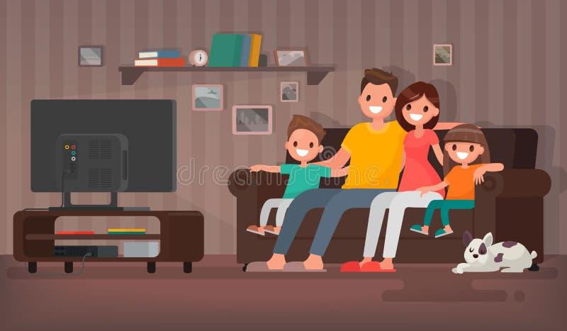 Hållande ögonen på televisionsammanträde för lycklig familj på soffan hemma V royaltyfri illustrationer