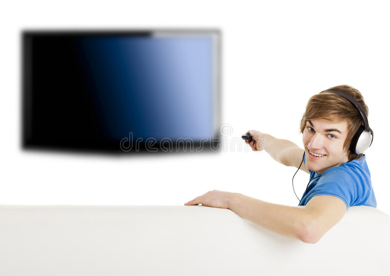 Hållande ögonen på TV royaltyfri bild