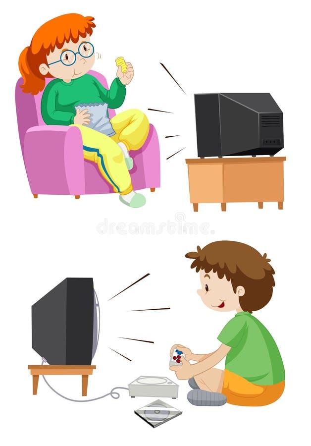 Hållande ögonen på TV för folk och spelalekar stock illustrationer