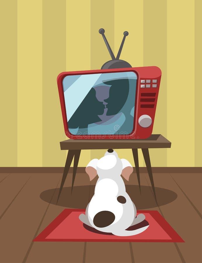 Hållande ögonen på tv för hund arkivfoton
