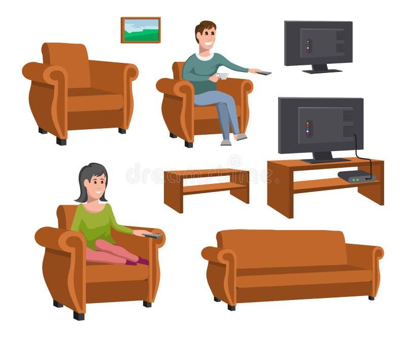 Hållande ögonen på TV för stor lycklig familj på soffan man för kaffekopp Hållande ögonen på TV-serie för afton Uppsättning av ol royaltyfri illustrationer