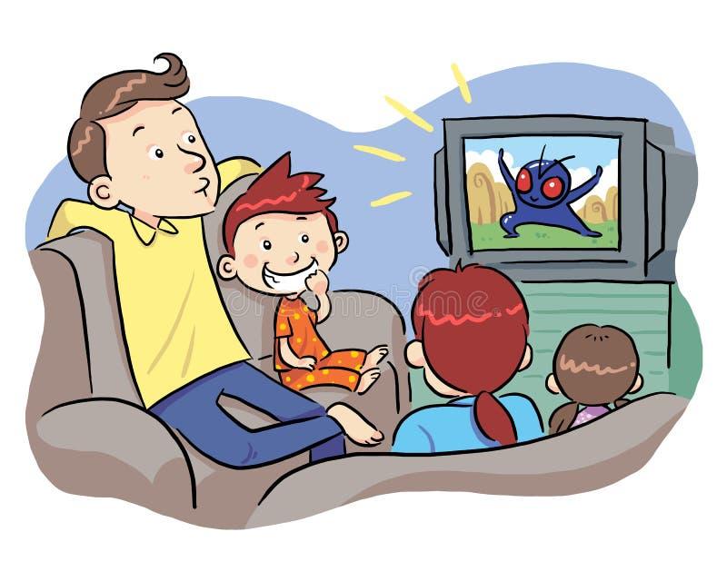 Hållande ögonen på TV med familjen royaltyfri illustrationer
