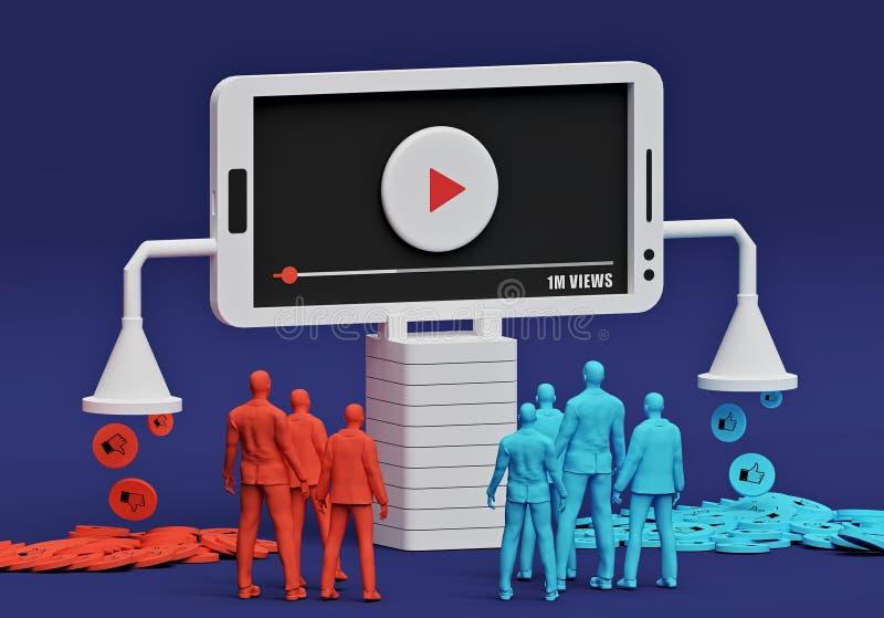 Hållande ögonen på video för folk på smartphonen, tolkning 3d stock illustrationer