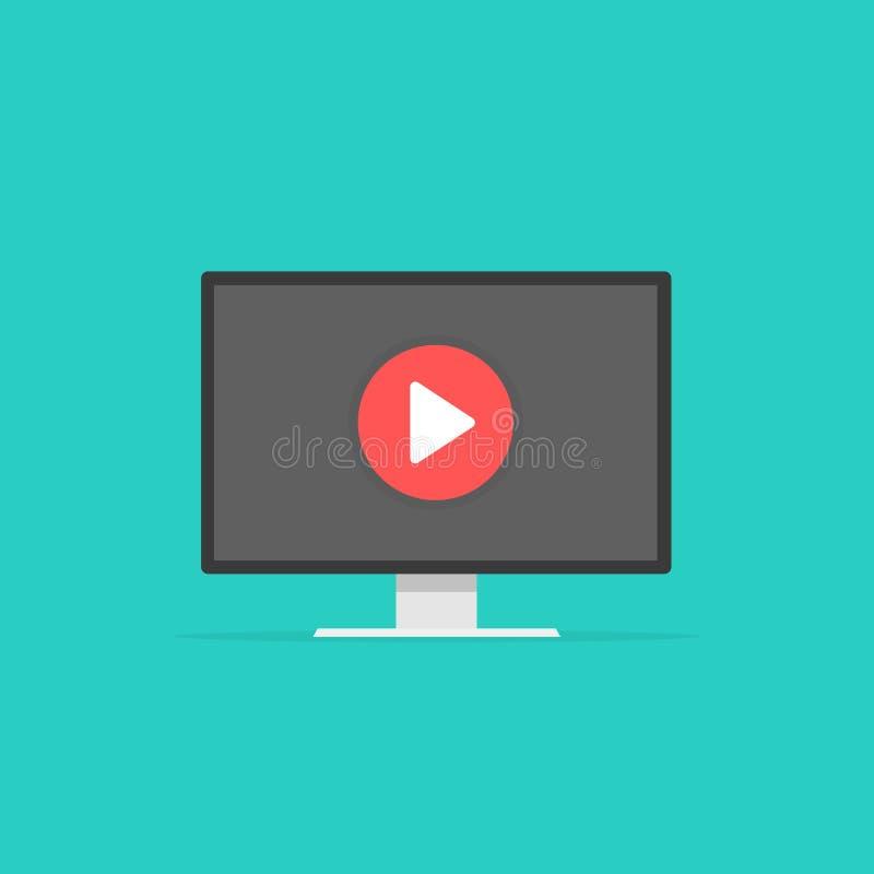 Hållande ögonen på videospelare för dator, begrepp av webinar, affärsonline-utbildning, utbildning på datoren som e-lär begrepp stock illustrationer