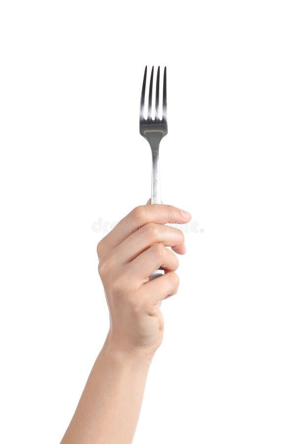 Hållande övre för kvinnahand en gaffel royaltyfria foton