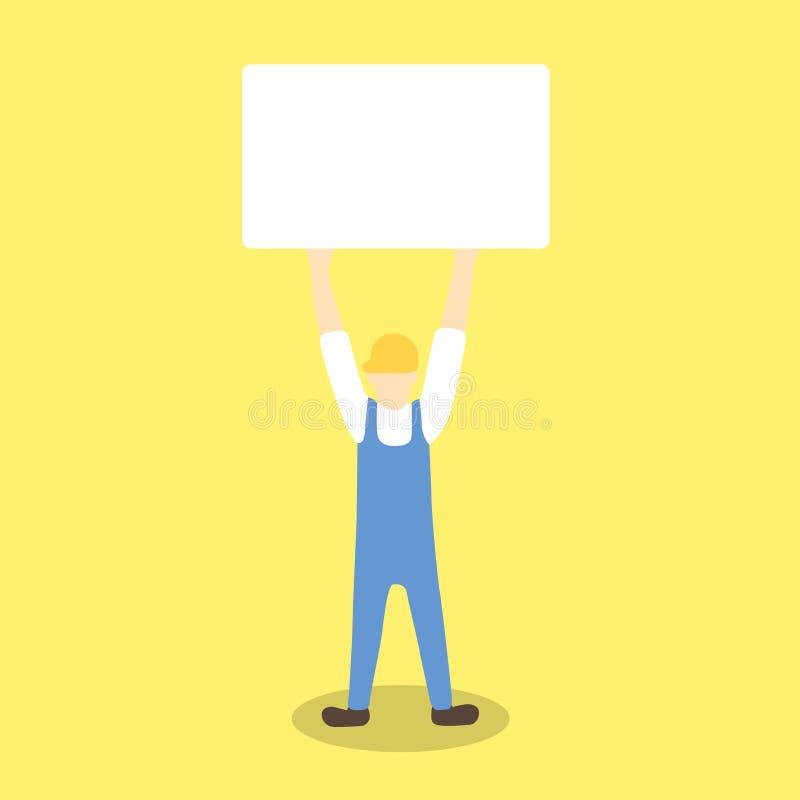 Hållande övre tomt bräde för arbetare som protest eller varning stock illustrationer