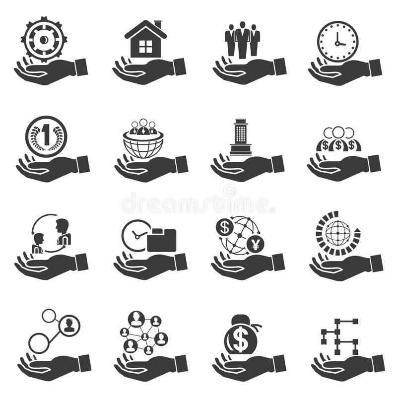 Hållande affärssymboler för hand, affärsidé royaltyfri illustrationer