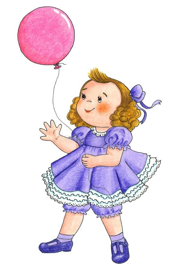 Hållande ballong för flicka stock illustrationer