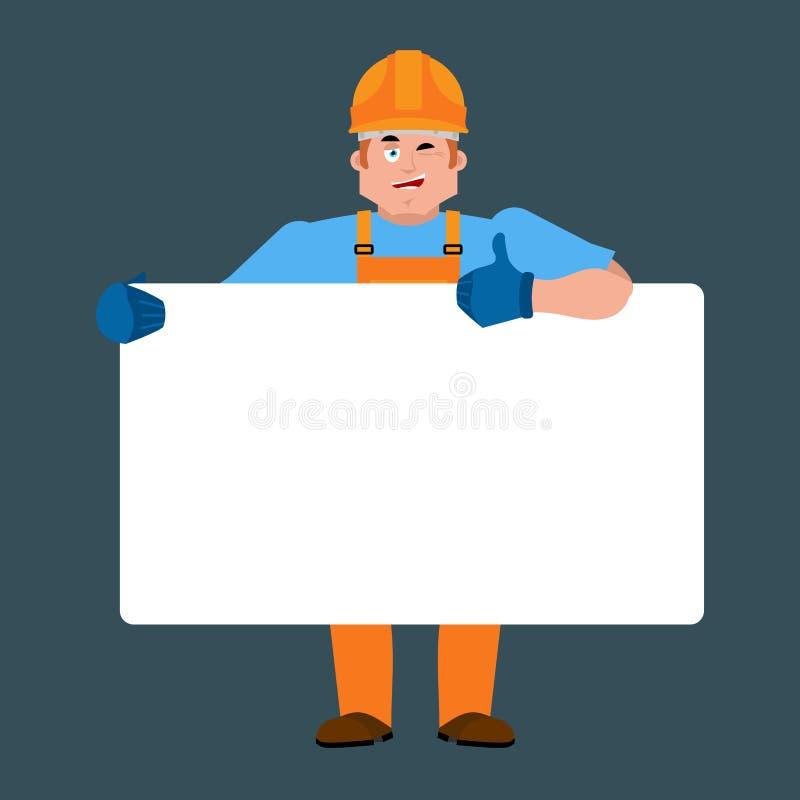 Hållande banermellanrum för byggmästare Arbetare i skyddande hjälm och wh vektor illustrationer