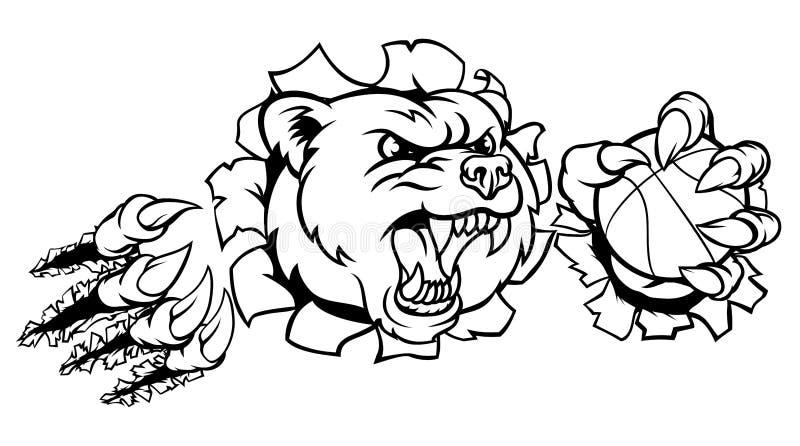Hållande basketboll för björn som bryter bakgrund royaltyfri illustrationer