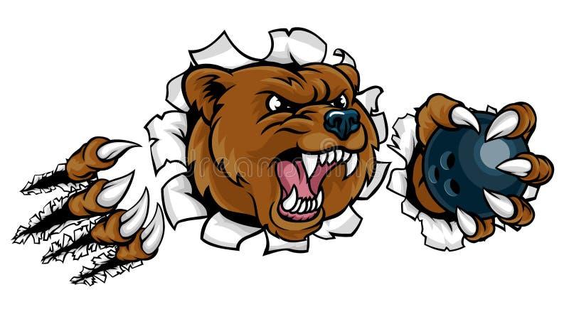 Hållande bowlingklot för björn som bryter bakgrund royaltyfri illustrationer