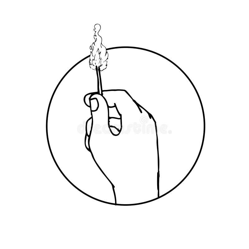 Hållande brinnande Matchstickteckning för hand royaltyfri illustrationer