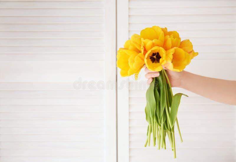Hållande bukett för kvinnlig hand av nya tulpan royaltyfri fotografi