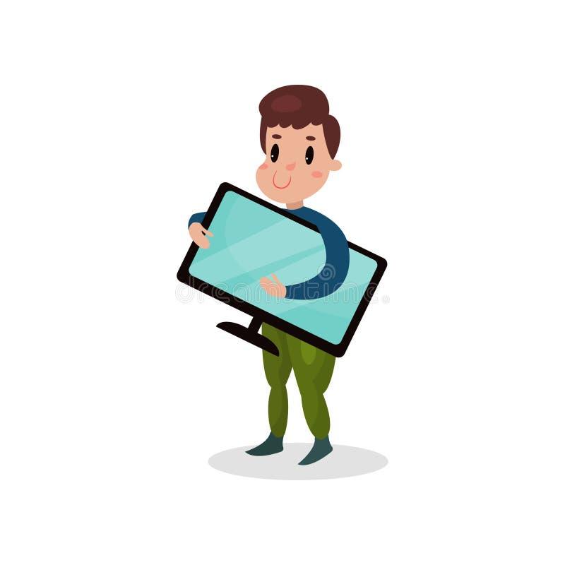Hållande datorbildskärm för ung man, skadlig vana och illustration för böjelsetecknad filmvektor vektor illustrationer