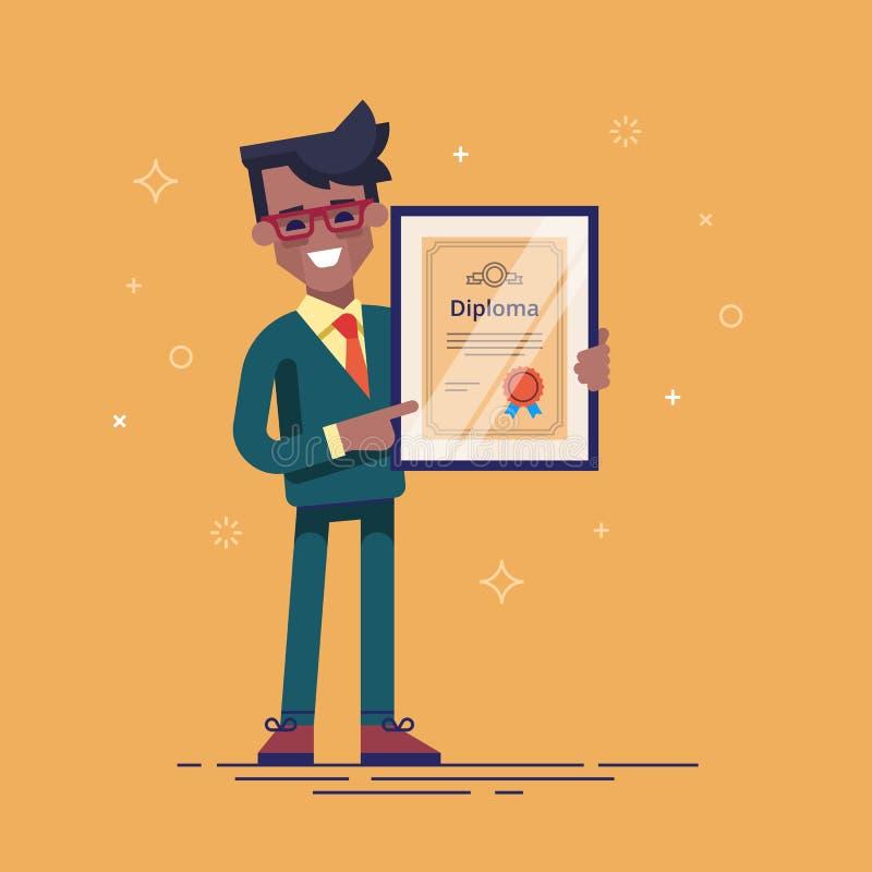 Hållande diplom för lyckad afrikansk amerikanaffärsman i hans händer Kandidat av MBA modern illustration royaltyfri illustrationer