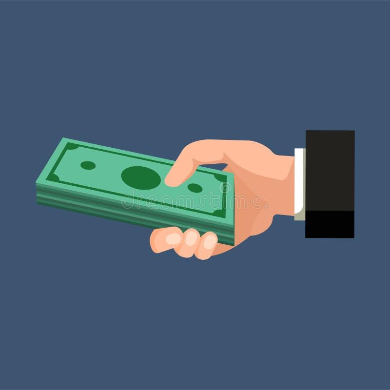 Hållande dollarpengar för hand på ett mörker - blå bakgrund bakgrundsbegreppet bantar guld- äggfinans också vektor för coreldrawi vektor illustrationer