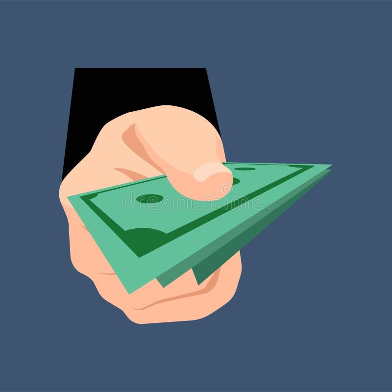 Hållande dollarpengar för hand på ett mörker - blå bakgrund bakgrundsbegreppet bantar guld- äggfinans också vektor för coreldrawi royaltyfri illustrationer