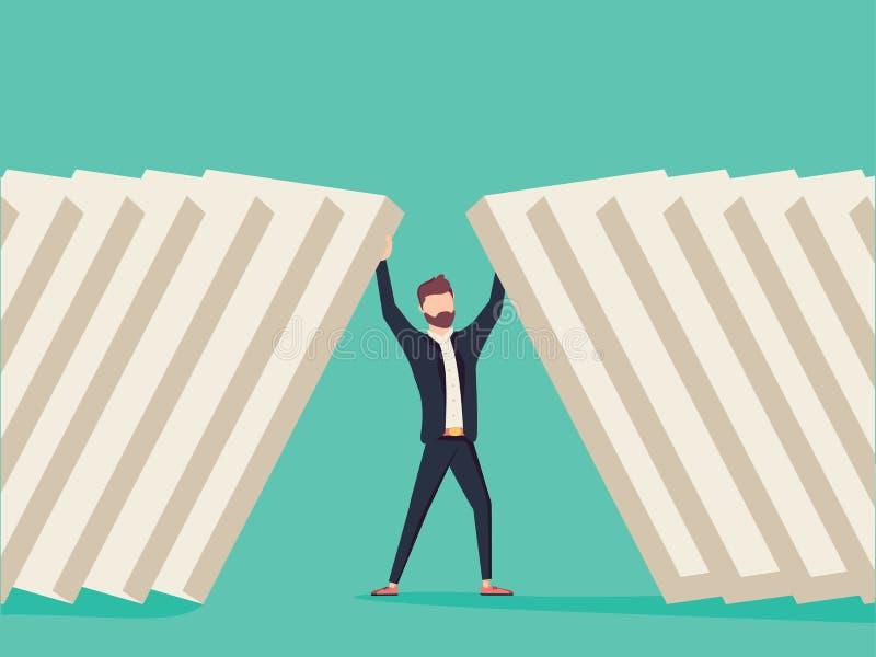 Hållande dominobrickategelstenar för affärsman Symbol av beslutsamhet-, fokus- och affärsframgång vektor illustrationer