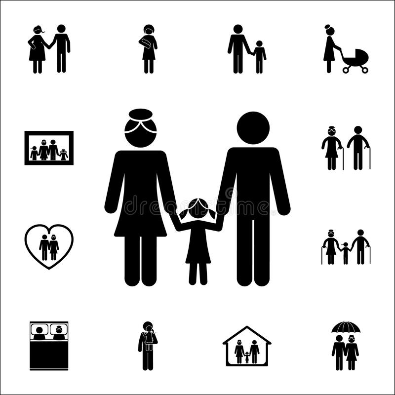 hållande dotter för gift par vid handsymbolen Detaljerad uppsättning av familjsymboler Högvärdigt kvalitets- tecken för grafisk d vektor illustrationer
