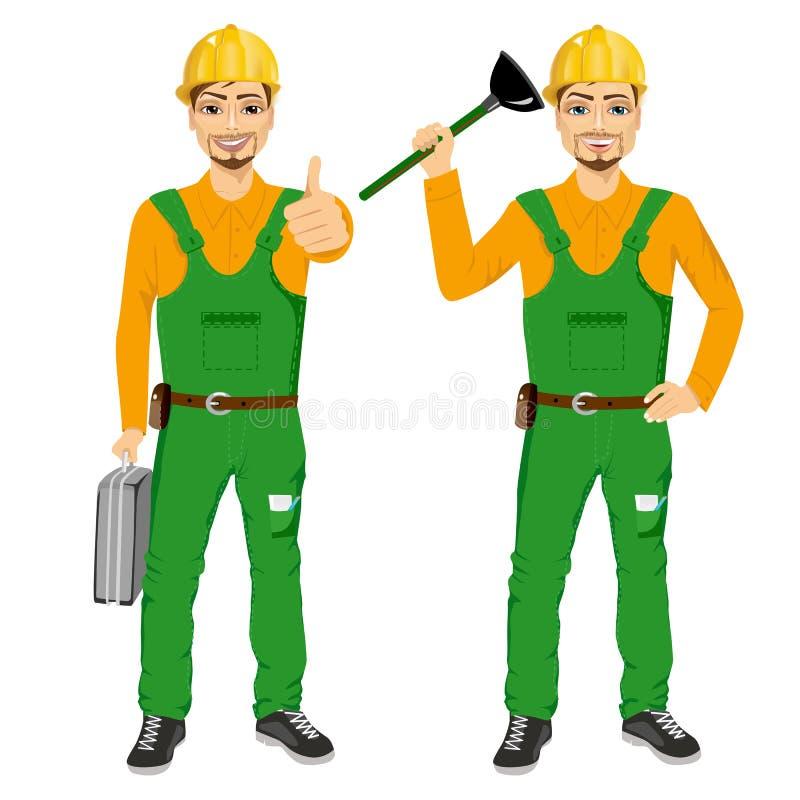 Hållande dykare för rörmokare i grön enhetlig ask för hållande hjälpmedel vektor illustrationer